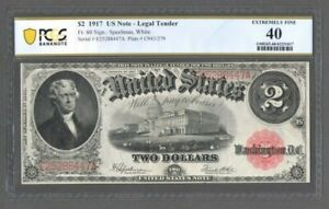 1917 $2 US Note - Legal Tender - Fr. 60 Speelman, White - PCGS 40 - S606