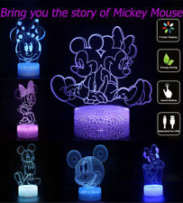 3D Mickey And Minnie LED Night Light 7 Color Change USB Touch Switch Atmosphere