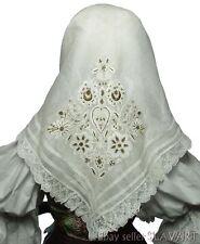 ANTIQUE Slovak Folk Costume metallic embroidered kerchief batiste shawl lace OLD