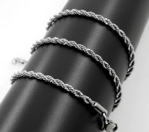 """2mm Stainless Steel Mens & Womens Rope Chain - 18"""", 20"""", 22"""" 24"""" Silver Necklace"""