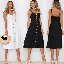AU Women Summer Holiday Sleeveless Strappy Beach Dress Backless Boho Midi Dress