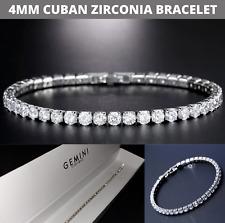 Men Women Tennis Bracelet CZ Iced Cubic Zirconia 4mm UK