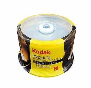 50 KODAK Blank DVD+R DL Dual Double Layer 8X Logo Branded 8.5 GB Media Disc