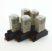 5Pcs H3Y-2 AC 110V Delay Timer Time Relay 0 - 5  Seconds with Base