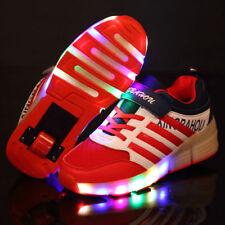 Kids Roller Shoes Boys Girls Sports Wheels Skates Gift Flash LED Heelys Trainers Red EUR 33 UK 1