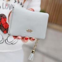 Women's Leather Mini Wallet Card Holder Zip Coin Tassel Purse Clutch Handbag bd