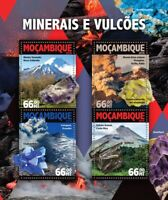 Mozambique Minerals & Volcanoes Stamps 2016 MNH Mount Taranaki Etna 4v M/S