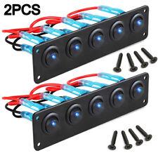 2PCS 5 GANG Rocker Switch Panel Circuit Breaker LED Voltmeter RV Car Marine Boat