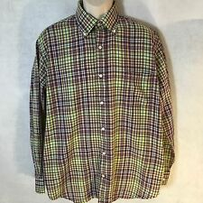 TAILORBYRD Men's Long Sleeve Lime Purple Plaid Cotton Button Down Shirt Sz XL