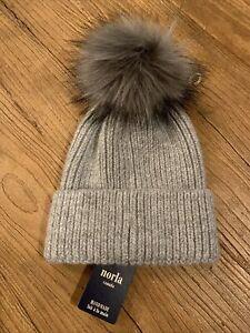 Anthropologie NORLA FAUX FUR Pom Pom Knit Beanie Canada HAT GRAY  ~ NEW