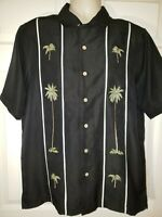 Batik Bay Men's Hawaiian Shirt Black w/ Island Palm Trees Pineapple Design M