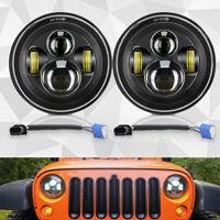 "Pair 7"" Inch Round LED Headlights Hi/Lo Projector For Jeep Wrangler TJ/LJ/CJ/JK"