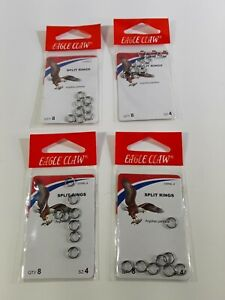 Eagle Claw Split Rings  Size 4  4 Packs of 8  SSRNL-4
