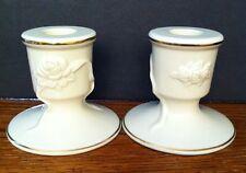 "Lenox Candlestick Holders The Rose Blossom 24k Gold Trim Ivory Porcelain 3"""