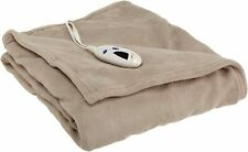 NEW Biddeford Heated Electric Microplush Throw Blanket Tan Taupe Brown 50x62