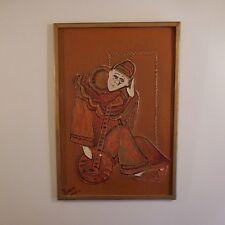 Peinture à l'huile signée oil painting signed TRIANG 89 personnage Clown