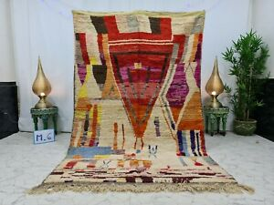 """Boujaad Handmade Moroccan Vintage Rug 5'3""""x8'3"""" Berber Abstract White Red Carpet"""