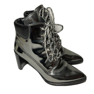 Gigi x Stuart Weitzman Ankle Boots Size 8 Lace Up Pointed Toe Iron Gray