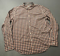 Men's LaCoste Peach Orange Blue Plaid Check Long Sleeve Button Up Shirt Sz 44