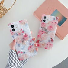 Case For iPhone 12 11 Pro Max XS XR 8 7 Square Flower Butterfly Shockproof Cover