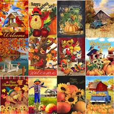 Autumn Welcome Garden Flags Thanksgiving Pumpkin Fall Double Sided Outdoor Decor