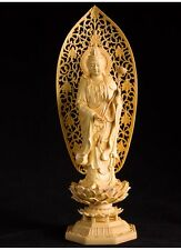 Chinese Boxwood handwork carving GuanYin hold lotus flower figure statue
