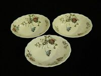 "Set of 3 Vintage Johnson Brothers ""Day in June"" Oval Serving Bowls England"
