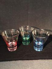 COCKTAIL CORDIAL GLASSES SET OF  3-1Cobalt Blue, Green & Pink 6OZ GLASSES EUC!!!
