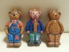3 DEPT 56 by SILVER CRANE SWEET DREAM BEAR Pig Bear TIN 1994 Ornament Gift Nice!