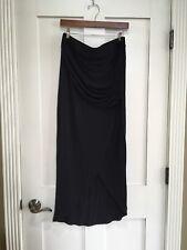 CAbi Faux Wrap Maxi Skirt Jersey Front Slit Size Medium Black