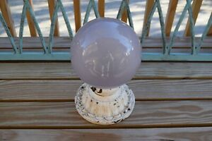 Antique ornate cast iron flush mount ceiling fixture with purple globe- rewired
