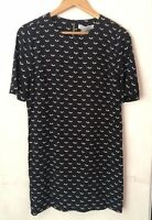 NWT Atmos & Here Shift Dress Size 6 Blue Short Sleeve Relaxed Abstract Print
