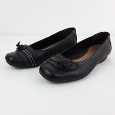 CLARKS ACTIVE AIR WOMENS LADIES BLACK LEATHER FLAT SLIP ON SHOES SIZE UK 5.5 WID