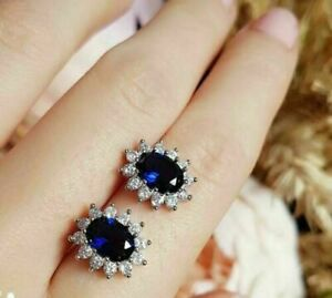 2.00Ct Oval Cut Blue Sapphire Halo Stud Earrings For Womens 14k White Gold Over