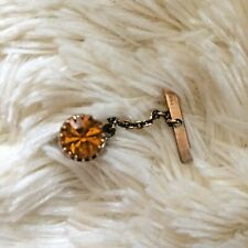 Vintage Amber Colour Sparkly Stone Tie Tack Gold Tone 1950s 60s Mens Jewellery