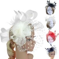 Classics Wedding Women Fascinator Penny Ribbons And Feathers Party Mesh Hat