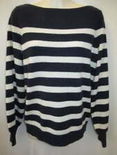 Ralph Lauren 100% Cashmere Navy Cream Boat Neck Sweater S New