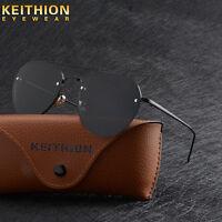 Mens Womens Ladies Sunglasses Polarized Driving Mirrored Fashion Rimless Eyewear