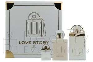 Chloe Love Story 3PC Gift Set 2.5oz EDP + 3.4oz B/L+ 0.25 EDP NIB For Women