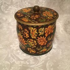 Made In England Floral Orange Gold Brown Metal Container W/Lid Designed by DAHER