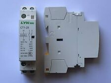 25 Amp 2 Pole Contactor AC 5 KW Normally Open DIN Rail Mount Heating Lighting