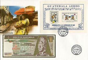 superbe enveloppe GUATEMALA billet de banque 0,50 Q 1988 UNC NEUF + TIMBRES
