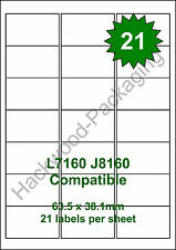 21 Labels per Sheet x 20 Sheets L7160 / J8160 White Matt Copier Inkjet Laser