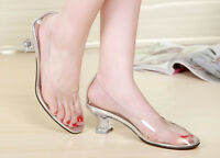 Women Cinderella Princess Clear Vinyl Bridal Bridesmaid Glass Slipper Keon Pumps