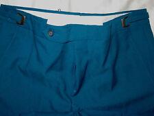 Vintage 70'S Light Silver Buckle Adjustable Waist Curacao Blue Golf Pants- M