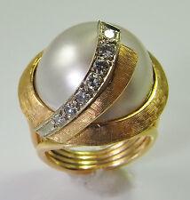 CHIC! Big 1960s Mabe Pearl Diamond Ring 14K Gold Mid Century Modernist Retro