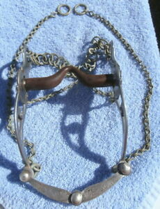 Sterling Silver Iron Mouth Horse Bit complete with Mexican Chains