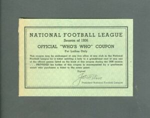 Vintage Football 1936 NFL Who's Who Book Coupon