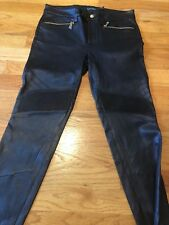 NEW RALPH LAUREN BLACK LEATHER SKINNY PANTS SIZE 2 POCKETS