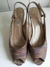 HB ESPANA SIZE UK 6 39 STRIPES BROWN PEEP TOES LEATHER SOLES SLINGBACK SANDALS